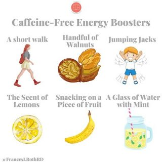 ⚡️ENERGY BOOSTERS! ⚡️  Happy Monday friends! You know I ❤️ my ☕️, but I realized I had been leaning into it a wee bit too much. If work/school/parenting/doing it all is catching up to you and you feel zonked 🥱 but don't want to overdo it on caffeine, check out these ideas for feeling perky 😄 naturally: ⚡️Go for a short walk: Getting you blood pumpkins—even for just 10 min—will improve circulation and help you feel refreshed! ⚡️Eat a handful of walnuts: These nuts contain biotin, a B vitamin, that helps you metabolize energy ⚡️from the food you eat👍 ⚡️Jumping Jacks: when you feel your energy headed south 👇 don't grab a sugary snack or another cup of ☕️, do a set of 20 jumping jacks. This simple exercise elevates your ❤️ rate quickly and boosts blood flow around the body, making you feel more alert 😁 ⚡️The scent of 🍋: Fresh and tangy, lemons are very stimulating to the senses. You can either slice a 🍋 open, or use lemon aromatherapy oil ⚡️Snack on fruit: An 🍎 🍌 or bunch of 🍇 are a smart thing to munch on when you start 🥱 The natural sugars in fruit can help to quickly boost energy levels ⚡️Water with mint: Dehydration can make you feel 😴 So grab a large glass of 💦 and add some fresh mint for an extra burst 💥 of aromatic freshness!  What helps YOU feel perky when you're dragging? I'm a big believer in jumping jacks😉 #healthtipsandtricks  #nutritionistapproved  #tipsformoms  #thestruggleisreal  #lackofsleep  #mondaymotivation  #caseofthemondays  #energytips  #caffeinefree  #caffeinefreeenergy  #wakeupandsmile  #thejuggleisreal  #nutritionandlifestyle  #healthylifestyle  #feelbetterlivemore  #lemonwater  #movemore  #walnuts  #jumpingjacks  #eatthefruit  #citrusfruits  #getthebloodpumping  #healthyandfit #everydaywellness