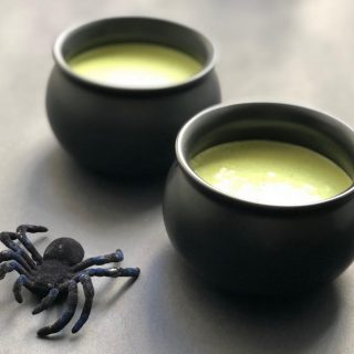 🕷 GROWN UP HALLOWEEN TREAT Where are my #matcha fans? I 💚 the flavor and color and antioxidants in matcha 🍵 but since it packs quite a caffeine punch, I keep these little Matcha 🍵 Panna Cotta cauldrons for the grown ups to enjoy😁 If you've never made panna cotta, it can sound like a lot of work, but it's basically just pudding. This one is SO creamy and rich, and has a little raspberry-chia jam surprise at the bottom 😉 I really want to make a vegan 🌱 version of this, so if you have a great replacement for gelatin, please LMK! recipe at the link 👆  🍵🕷🍵🕷🍵🕷🍵🕷🍵🕷🍵🕷 #matcha  #matcharecipes  #eatingincolor  #matchadessert  #halloweentreatsforgrownups  #halloweenpartyideas  #pannacotta  #matchapannacotta  #grownuptreats