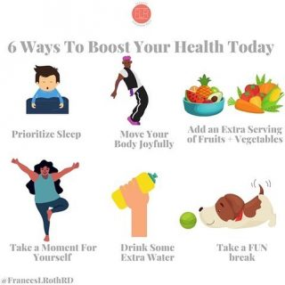 EASY WAYS TO BOOST YOUR HEALTH!  Getting to a healthy lifestyle can feel like a long road sometimes. But taking small, actionable steps each day (on most days) really can add up to BIG health payoffs. Here are some of my faves😁 😴 Making sleep a priority has been a big one for me this year. Moms often don't get enough sleep and then compensate with caffeine ☕️ and added sugar 🍬  By putting sleep first, you're really putting your health first👍 And you deserve that! 💃🏽 You don't need to take ballroom lessons or do anything formal, but moving your body to the 🎶 feels great, produces endorphins 🤩 and can be done literally anywhere. I like to have post dinner dance parties in the kitchen. How bout you?  🍍 This one is SO easy. You ready? Add an extra fruit 🍉 🍇 🍌 or veggie 🥬 🌽 🥒 to your plate today! More color 🌈 = more yummy nutrients to make you feel ALIVE💥 🧘🏻♀️ Take a moment for yourself today. Sounds simple, but I get it-it's not. I did a 10 min yoga the other day with @jessgronholm and it felt 😊 even though it was super short. Meditate, close your eyes, read—just do it for YOU 💦 Drink a little extra today. Add 🍋 or lime or mint 🌿 if that helps 🐶 Take a fun break! Seriously—look at dream 🏘 play with your puppy, or look at 🐶 images if you don't have one. Do a puzzle. Just make it FUN 🤸🏿♀️! All of these small actions will add up, I promise. Which one will you do first? I'd ❤️ to hear it!  #smallstepstohealth  #healthyliving  #healthylivingtips  #healthylifestyle  #healthypractices  #bettersleep  #prioritizeyourself  #prioritizeyourhealth  #danceparty  #kitchendanceparty  #eatmorefruit  #eatmoreveggies  #takeamomentforyourself  #selfcaretips  #memoment  #hydrationtips  #drinkmorewater  #takeafunbreak  #laughmore  #beinthenow  #besilly  #stressless  #eatingincolor  #healthexpert #longevity  #longevitytips