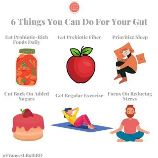 6 Ways to Take Care of Your Gut 😊 I've talked a lot about the importance of #guthealth for your overall health, especially immune health, so I wanted to deliver some actionable tips for actually improving the healthy of your gut👍 🥬 Include Probiotics in your diet: Those good bugs help fend off the nasty 🦠 that may be in your system. You can find them in yogurt, kefir, kimchi, sauerkraut, miso and kombucha. Aim for a serving each day. 🌾 Include prebiotic fiber in your diet: prebiotic fiber is the fuel for the probiotics to do their job. You can find it naturally in 🍎 🥝 🍌 🧅 Jerusalem artichokes, asparagus, whole grains and seeds. And you'll also find added prebiotic fiber, like inulin, in packaged foods. Aim to include these foods each day. 💤 Prioritize 😴: The NIH reports that 1 in 3 Americans don't get enough sleep to stay healthy. Studies show that when our gut is out of balance, our 💤 can become disrupted. Take steps to get 7-8 hrs of sleep nightly. One tip: go to 🛌 at the same time each night 😊 🍫 Cut back on added sugars:  Sweets 🍪🍭🍰 are ok in moderation, but when we start leaning into them too much, it can wreak havoc on our gut by disrupting the balance of gut 🦠 Remember that the sugar in fruits🍌🍎 veggies 🌽 🌶 and dairy foods are not added sugars, but naturally occurring ones and come with lots of bennies👍 🏃🏿♂️ Get Regular Exercise Daily movement 🚴 is beneficial in so many ways, including #guthealth. Exercise actually increases the diversity of good 🦠 in your gut and helps create the type of good bugs that support #immune function. Grab a buddy 🐶 and get moving!  🧘♂️Focus on Reducing Stress Research has established a link between our gut and our emotions. Our 🧠 influences our gut and vice versa. I'm sure you remember times when stress and anxiety negativity affected your gut, right? It's important to include self-care practices, like meditation 🧘 journaling, breath work and socializing in our daily routines 🙏 Which of these practices are you already doing for you