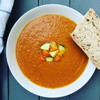 🍅 GAZPACHO PLUS! 🍅  It's yet another 90+ day 🥵 here in New York, with 62% humidity, so I'm NOT cooking. But I do recommend making his super 😎 Golden Gazpacho to help cool you off. Not only is this recipe (in bio 👆) a super 😋 way to use your garden or farmer's market veggies, it also gets extra hydration 💦 from a cup-full of melon. I like cantaloupe, but use whatever you have in hand 🍉  Also, some topping ideas: 🥑  🍤 or 🥚 for extra protein Hemp or 🎃 seeds And I always serve with crusty 🥖 like this sourdough👍 You can either make this a little chunky, like I have it in the recipe, or reserve just a little bit of ingredients to use as a garnish, like I've done here. Either way, it's absolutely satisfying and refreshing. Now kick back in that hammock and chill 😊 PS: Tomatoes 🍅 are lycopene-packed, giving this recipe ☀️ protecting power💥 What's your fave stay 😎 meal? #gazpacho  #nocook  #nocookrecipes  #veganrecipies  #plantbasedrecipes  #eatingincolor  #lycopene  #extrasunscreen  #heatwave  #summerfoods  #hydratingfoods  #goodskinfood  #beattheheat☀️  #sourdoughbread  #crustybread  #coldsoup  #easyhealthyrecipes  #nutritionistapproved  #foodthatlovesyouback #tomatorecipes